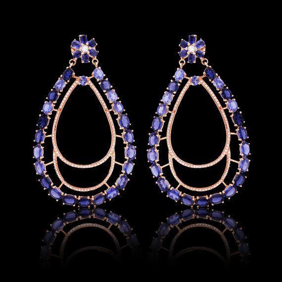 Iolite earring with cubic zirconia in sterling silver