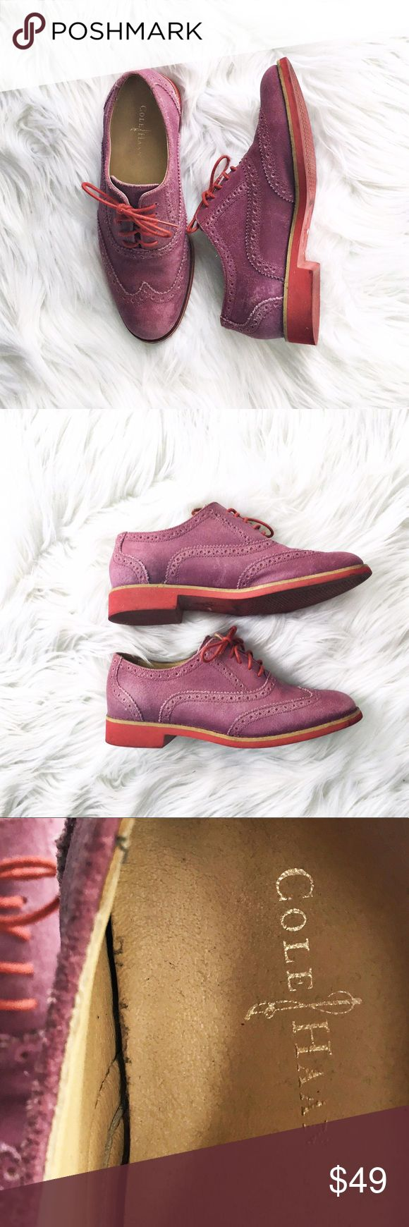 Cole Haan suede Oxford shoes Adorable purple suede oxfords from Cole Haan, size 5.5. Mild wear on the soles, uppers are in excellent condition. Cole Haan Shoes Flats & Loafers