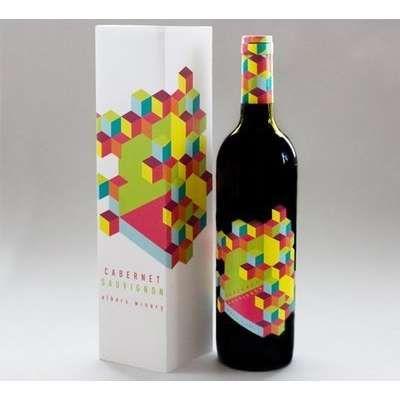 Op art wine packaging
