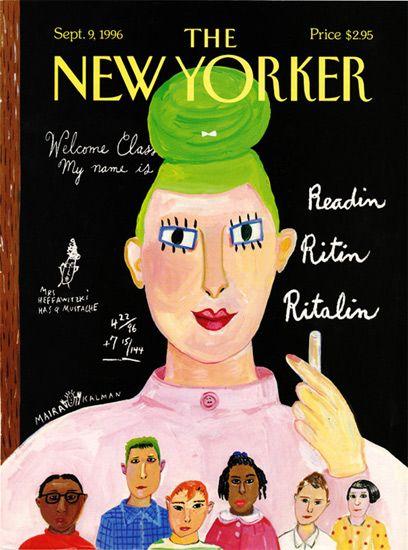 reading ritin ritalin -- Maira Kalman, The New Yorker - september 9, 1996