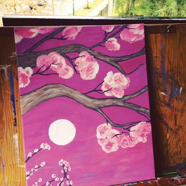 【michelle.elle.b】さんのInstagramをピンしています。 《Channeling my inner Bob Ross 🎨 #painting #art #cherryblossoms》