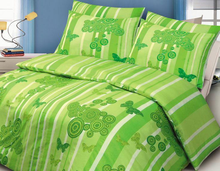 Pościel satynowa Valentini Bianco LYON GREEN, 160x200 + 2x 70x80 cm oraz 220x200 + 2x70x80 cm, 100% bawełna.