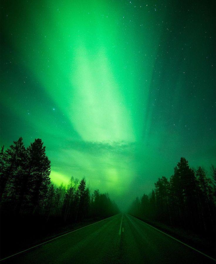 A road in Rovaniemi, Finnish Lapland. Photo by Jani Ylinampa (via janiylinampa instagram) The road north. janiylinampa#northernlights #auroraborealis #rovaniemi #lapland #finland #lappi #suomi #visitlapland #visitrovaniemi #visitfinland #revontulet #huffpostgram #worldaurora #igscandinavia #wanderlust #travelstoke #longexpoelite #discoverfinland #nightphotography #rsa_sky #jaw_dropping_shots #liveauthentic #earthpix #wowshot #letsgosomewhere #stunning_shots #dream_image #visitfinlandjp