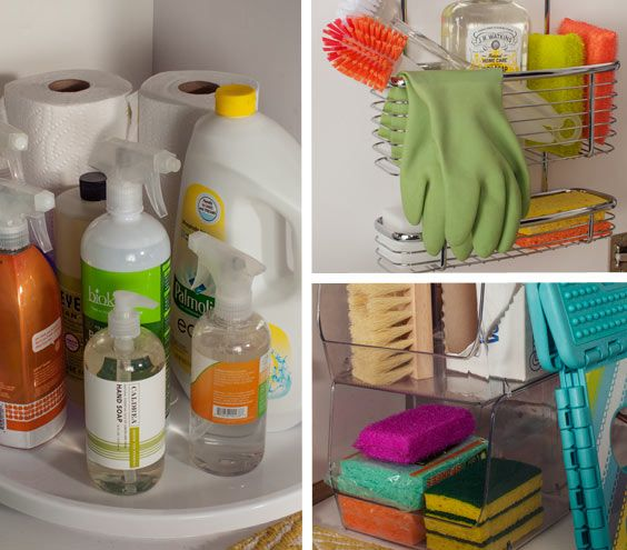 Under-the-sink storage for cleaning supplies