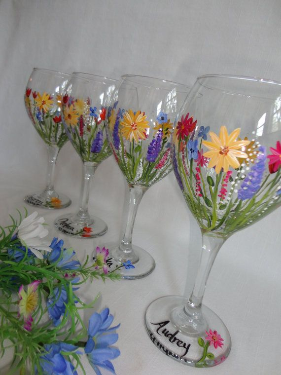 Hand Painted Wild Flower Wine Glasses  GIFT by samdesigns22, $22.00