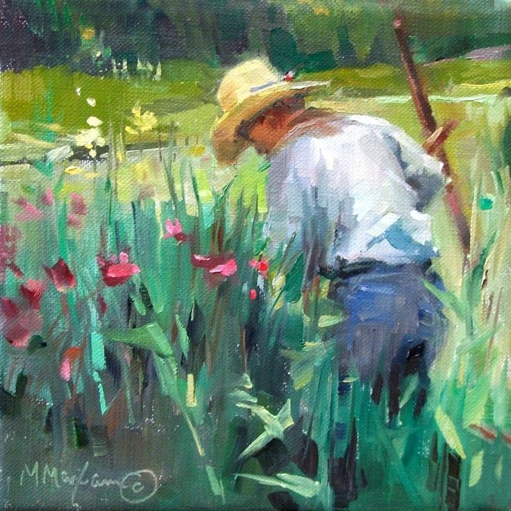 "The Constant Gardener by Mary Maxam Oil ~ 6"" x 6"""