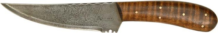 "This South-Western belt knife is 9-1/4"" overall length. The 1/16"" thick blade is 5-1/4"" long, and is 1-1/4"" at the widest point. The base of the blade has decorative file marks. The 4-3/8"" long handle is made of nicely finished curly maple scales, secured with six brass cutler's pins. The Blade is acid etched to a gray antique patina appearance. Copied from an original, entirely hand made, each knife will vary slightly. Not an import, this knife is made of high carbon cutlery steel, hand…"