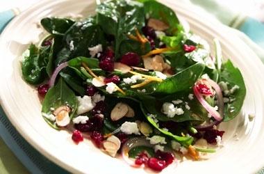 Effortless Spinach Salad with balsamic vinaigrette and orange zest/juice dressing