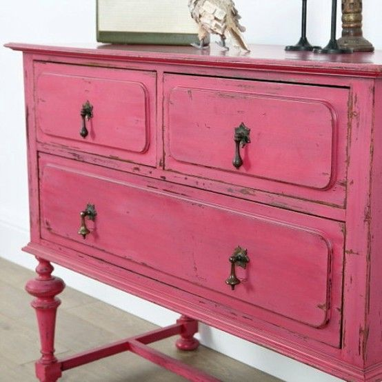 pink dresser to go with white walls and pink silk drapes in the master bedroom--my husband is going to kill me... Good thing he has a man cave!