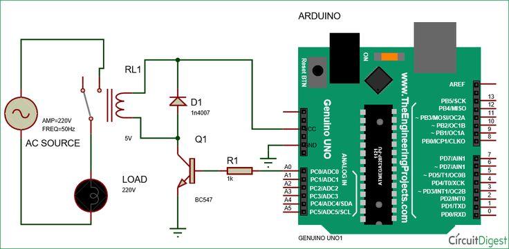 Controlling Relay using Arduino circuit diagram