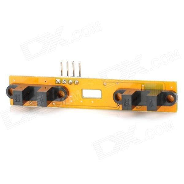 Speed Test Counting Module for Smart Tracing Car - Yellow. Model: 083102 - Quantity: 1 - Color: Yellow - Material: Copper-clad laminated - Output: 5V TTL - Uses Schmitt trigger to shake pulse, high stability - Suitable for small car speed and distance test - 4-pin defined to +5 / GND / OUT1 / OUT2 - OUT1 / OUT2 is electric lever output - Directly connected to microcontroller IO port - With LED indicates output status for every channel - Application: Speed testing for smart tracing car…