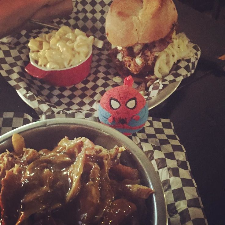 Pulled pork poutine and Bolicious burger at @bofingerbbq ! #SpiderSphere #foodie #yummaaay #mtl #mtlfood #mtlmeats #poutine #pulledpork #hamburger #Montreal #MTLmoments
