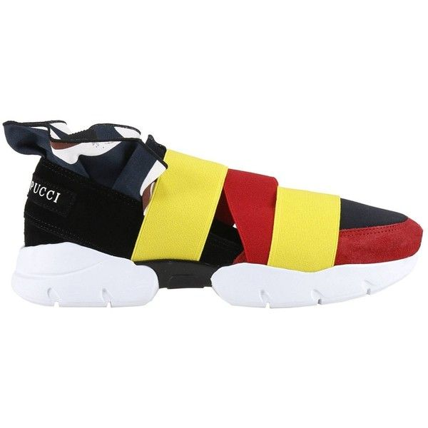 Sneakers Shoes Women ($289) ❤ liked on Polyvore featuring shoes, sneakers, womenshoessneakers, yellow, real leather shoes, emilio pucci, genuine leather shoes, leather trainers and yellow shoes