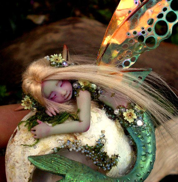 A Tiny Mermaid Fairy on Shell by Celia Anne by scarletsbones