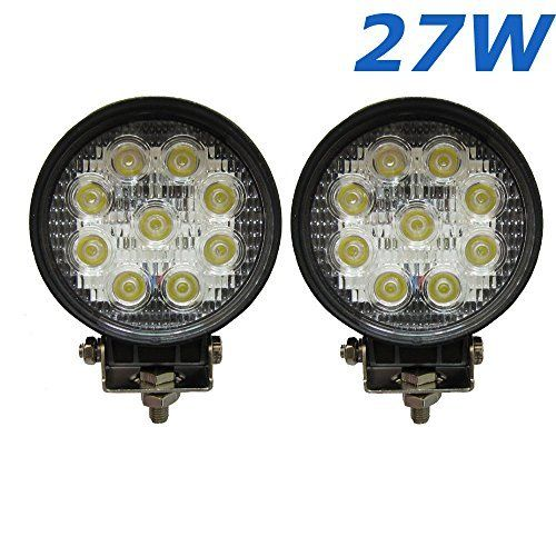 2 x 4.5 inch 2565LM rond phare de travail LED 27W lampe voiture pour SUV Jeep ATV tracteur pelleteuse camion grue 4×4 camion Work light…