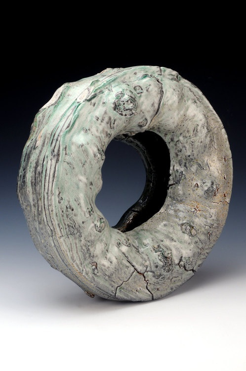 "codaking:    tire  dustin harris pottery  soda fired sculpture 20"" x 20"" x5"""
