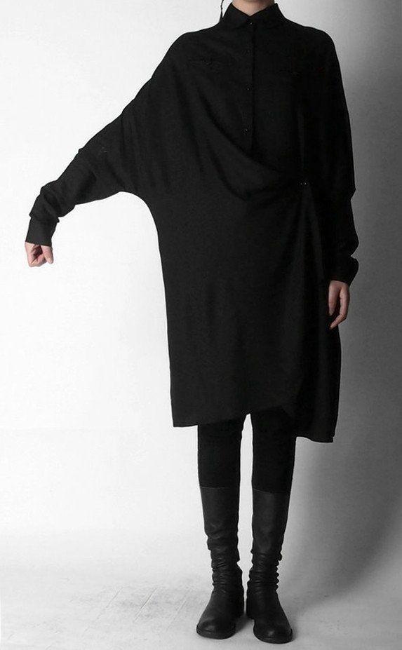 Crepe Tunic Dress Long Sleeve Loose Waist Oversized Irregular Split Shirt