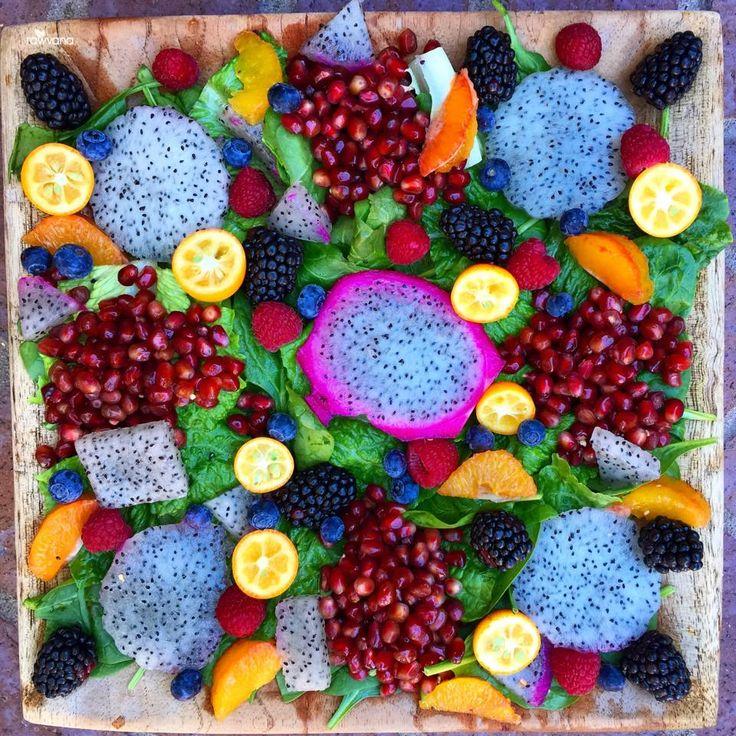 Antioxidant Rich Salad tonight! Greens, kumquats, dragon fruit, pomegranate seeds, blackberries, blueberries, raspberries, and oranges!