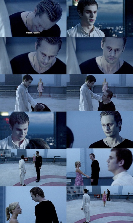 Godric says goodbye to Eric, his progeny. Broke my heart when Eric fell to his knees and begged Godric not to die