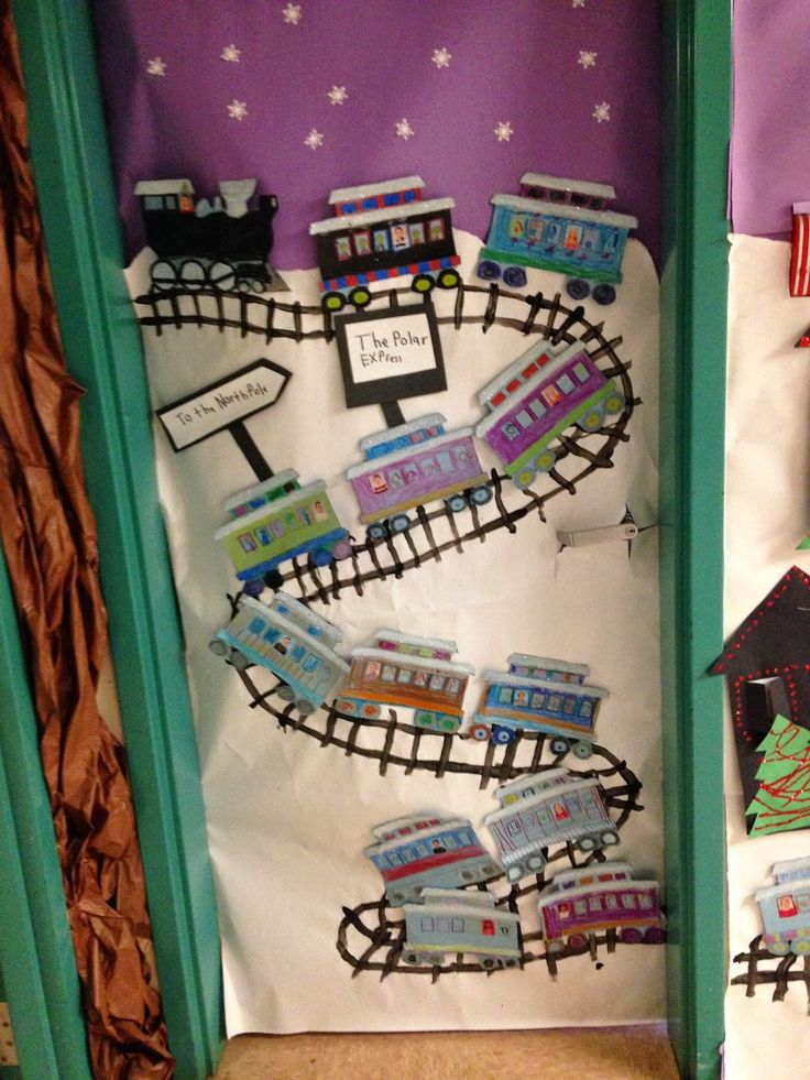 We had a lot of fun creating our entry to the Christmas Door Decorating contest! We made our own Polar Express ! The children colored . & 29 best Classroom Door Decorating images on Pinterest   Christmas ... pezcame.com