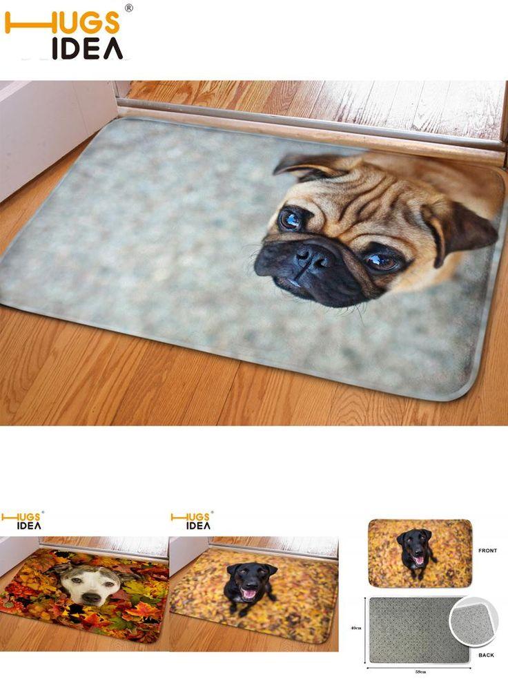 [Visit to Buy] HUGSIDEA Funny Entrance Doormat 3D Dog Soft Flanner Carpet Beautiful Scenic Tapis Rug for Living Room Bedroom Alfombras de salon #Advertisement