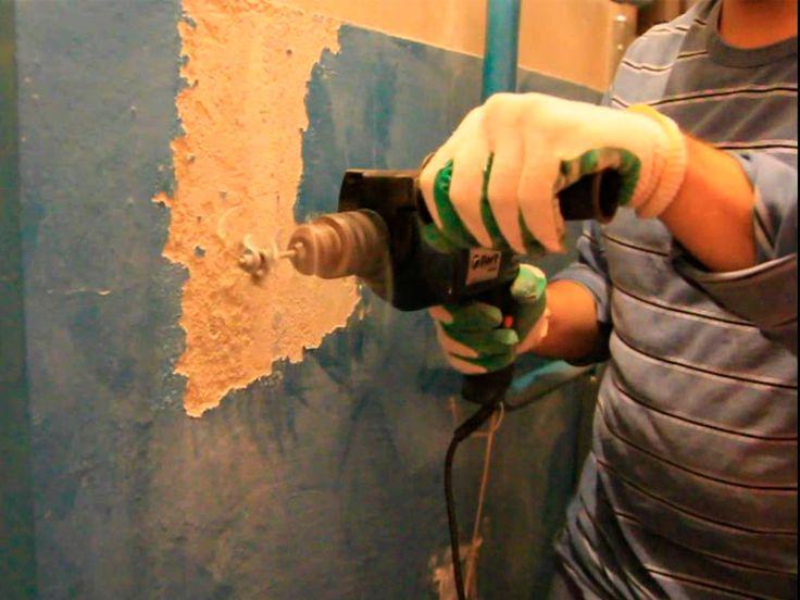 Очистка стен от краски дрелью