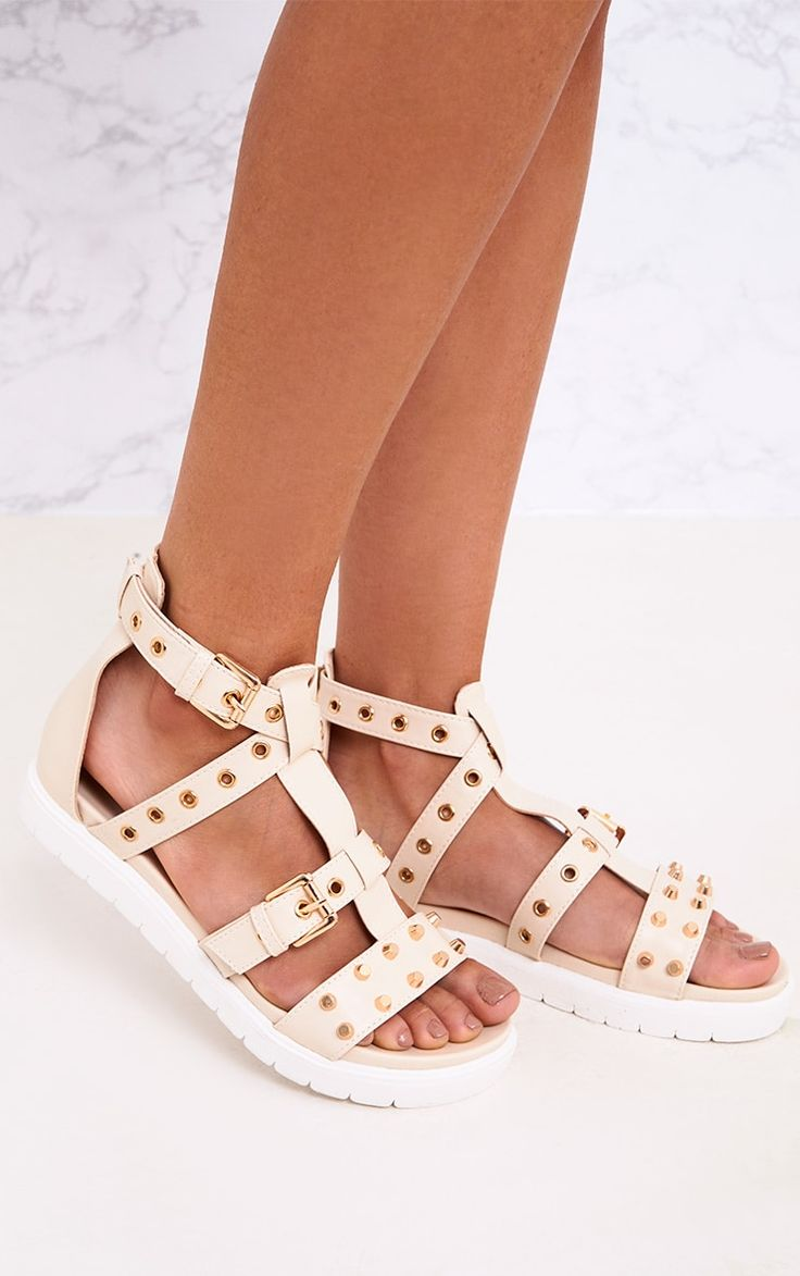 Clarice Nude Studded Gladiator Sandals