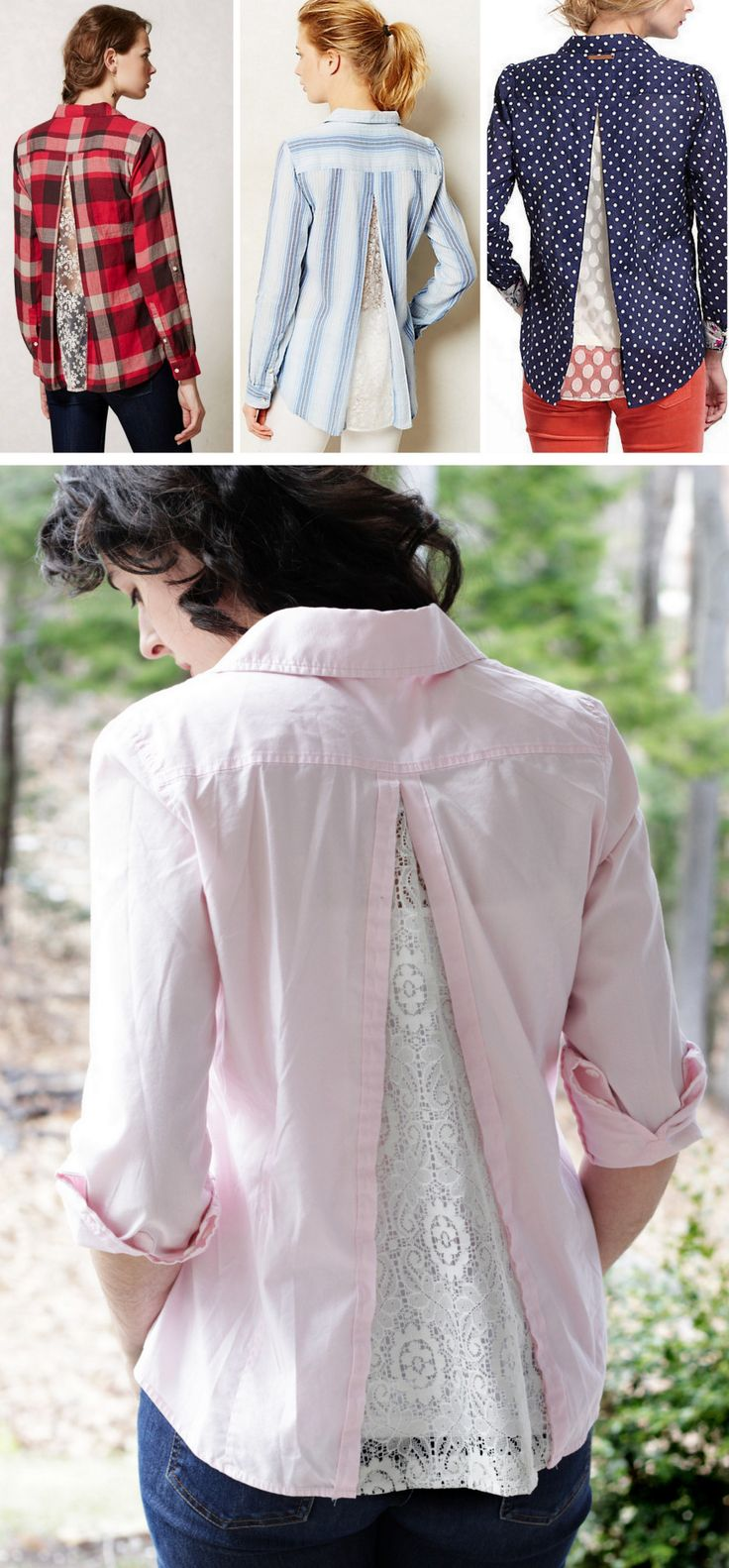 DIY Anthropologie Inspired Lace Back Shirt Tutorial fromMelmaria Designs.This is actually a very easy DIY. Melody of Melmaria Designs used a lace curtain she found at Goodwill that was not scratchy but still had a good drape to it.Top Photos: All sold out/NA Anthropologie Shirts - all are button down in the front. Bottom Photo: DIY by Melmaria Designs.For more knockoffs of all types go here.