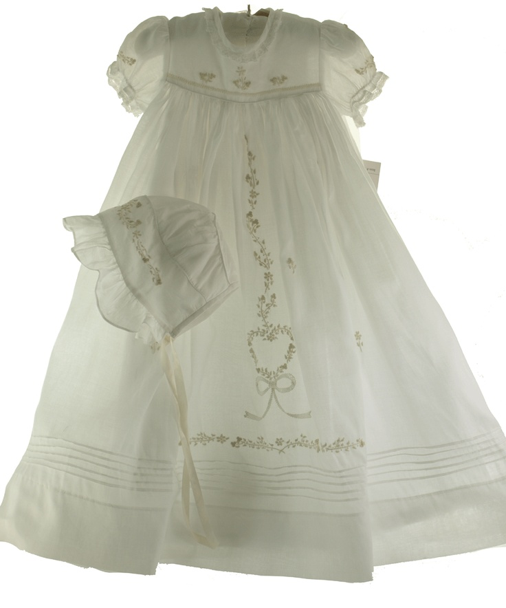 Beautiful embroidered gown and bonnet.
