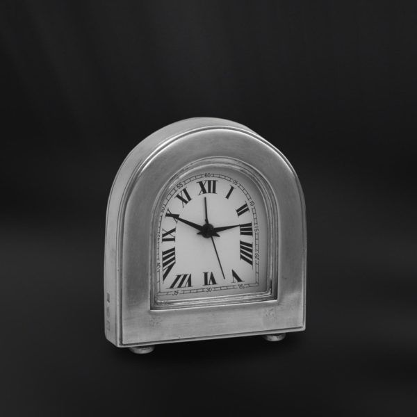 Pewter Alarm Clock - Width: 9,5 cm (3,7″) - Height: 11 cm (4,3″) - #pewter #alarm #clock #peltro #sveglia #orologio #zinn #wecker #uhr #étain #etain #réveil #peltre #tinn #олово #оловянный #gifts #giftware #home #housewares #homewares #decor #design #bottega #peltro #GT #italian #handmade #made #italy #artisans #craftsmanship #craftsman #primitive #vintage #antique