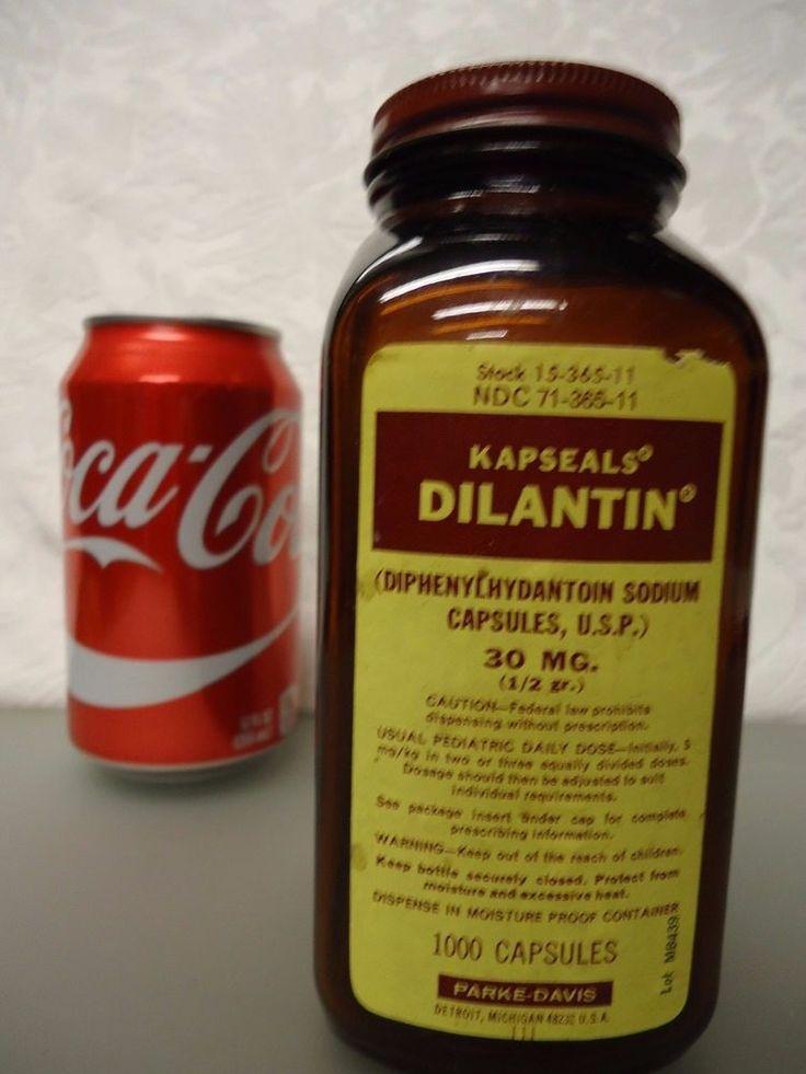 Kapseals Dilantin Parke Davis Vintage Empty Medicine Bottle