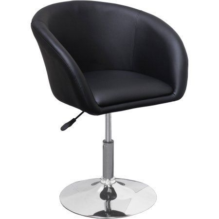 Best Master Furniture Tufted Vinyl Adjustable Height Swivel Short Bar Stool, Multiple Colors Available, Black
