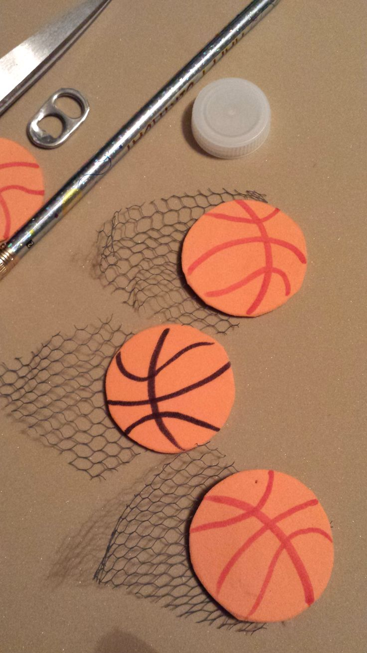 Fair Play- BAsketball SWAPS. Foam, marker, modgepodge or glue and netting. (Netting from an old shower scrunchie)