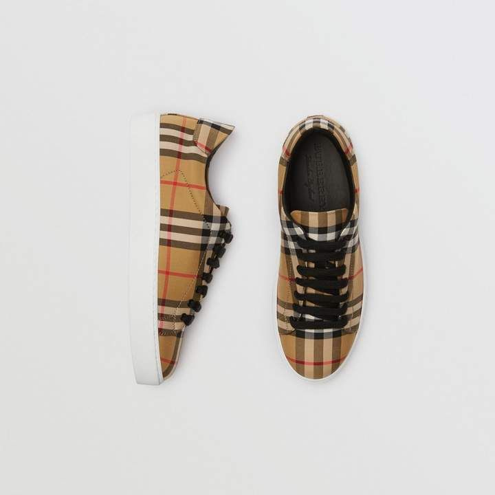 e6e0a6073799 Vintage Check and Leather Sneakers in Antique Yellow - Women ...