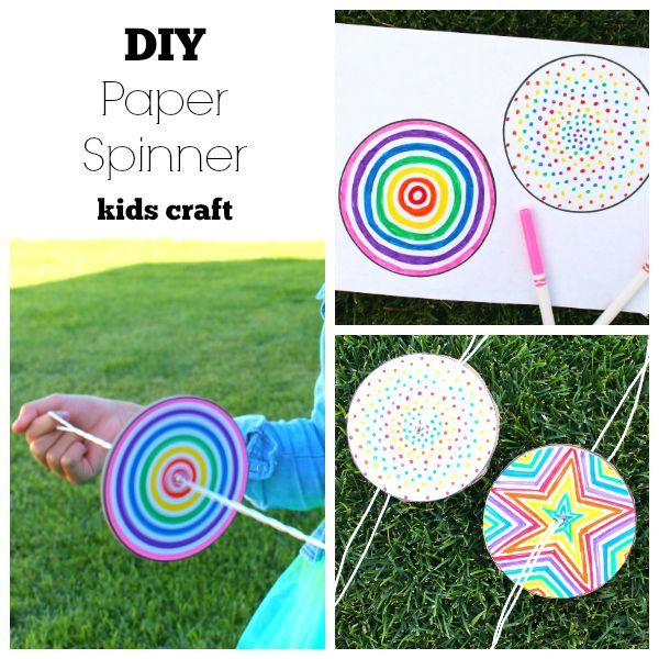 Super easy crafting for a DIY paper spinner, bringing the kids to La