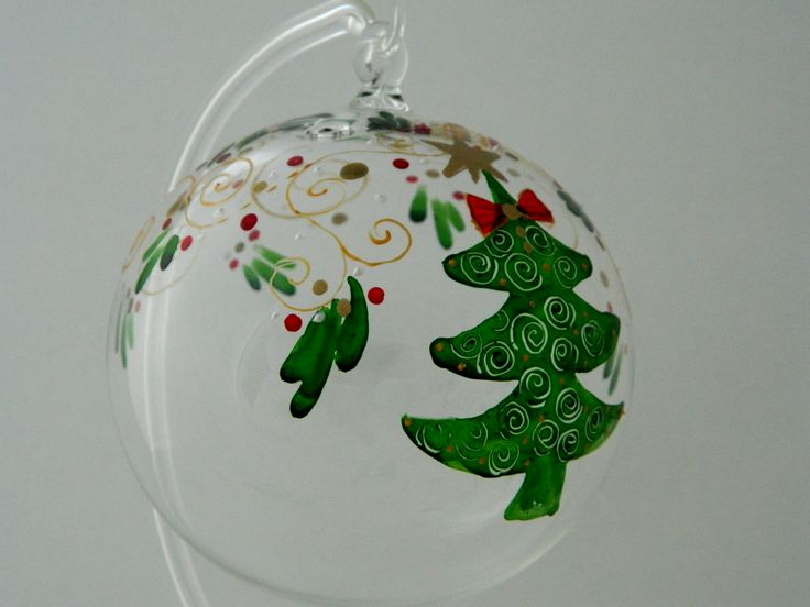 Hand painted glass Christmas ball decorated with a green Christmas tree.  www.handmadesister.blogspot.com