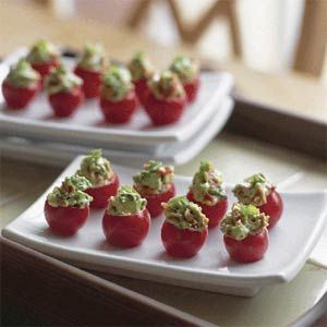 "Stuffed cherry tomatoes. I've done these for a ""blt"". Chopped lettuce, bacon bits, and mayo mixed together and stuffed in cherry tomato. Delish appetizer."