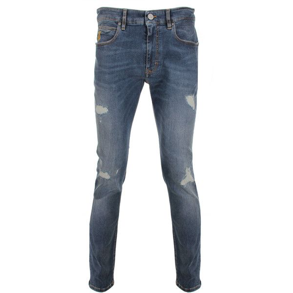 Vivienne Westwood Anglomania Skinny Jeans (£190) ❤ liked on Polyvore featuring men's fashion, men's clothing, men's jeans, mens distressed skinny jeans, mens jeans, mens skinny fit jeans, mens torn jeans and mens denim jeans