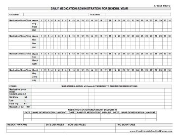 A form on which school nurses or health aides can track medication administered during the school year to an individual student. Free to download and print