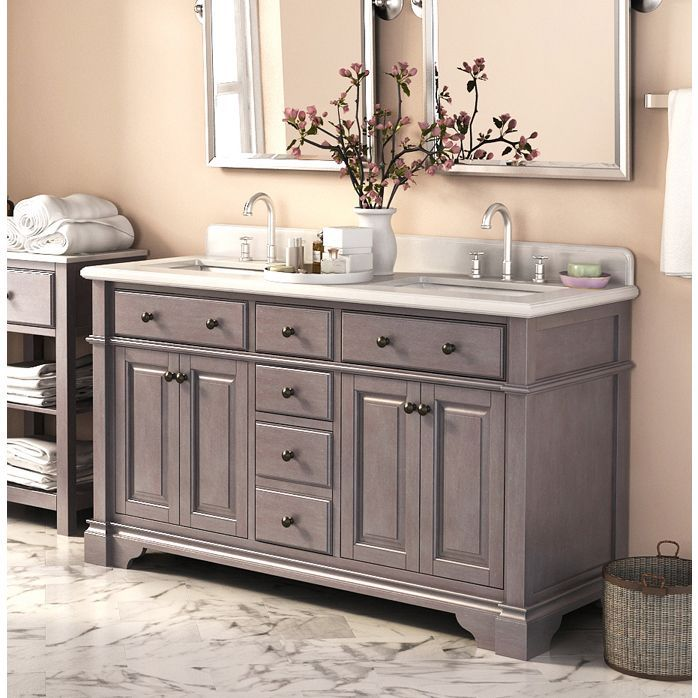 "Love this color vanity.  Casanova 60"" Double Sinks Vanity with Backsplash"