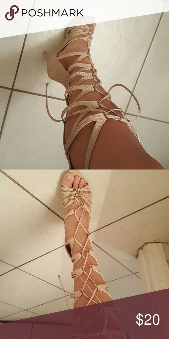 Sexy gladiator boots Light beige lace up gladiator heels BRAND NEW Shoe Dazzle Shoes Lace Up Boots