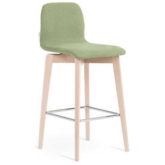 Sgabello in legno e metallo con sedile e schienale rivestiti in tessuto