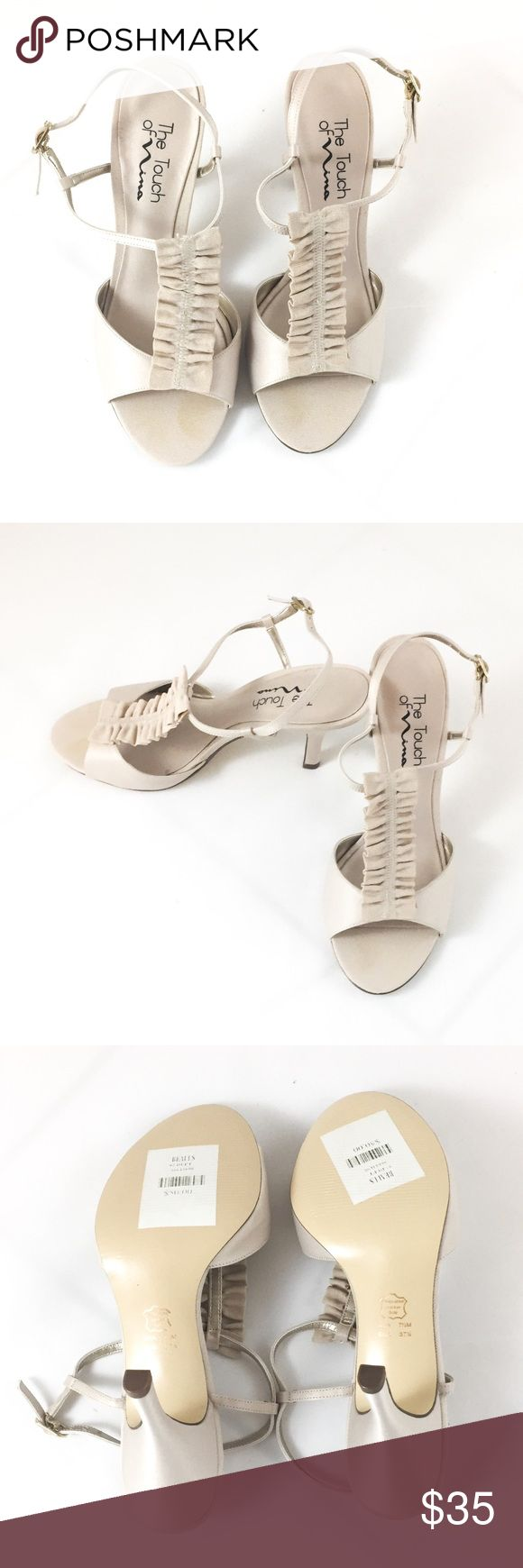 Nina cream strappy heels with ruffle BNWT Touch of Nina cream strappy sandal heels with ruffle. Brand New With Tags. Size 7.5. Nina Shoes Heels