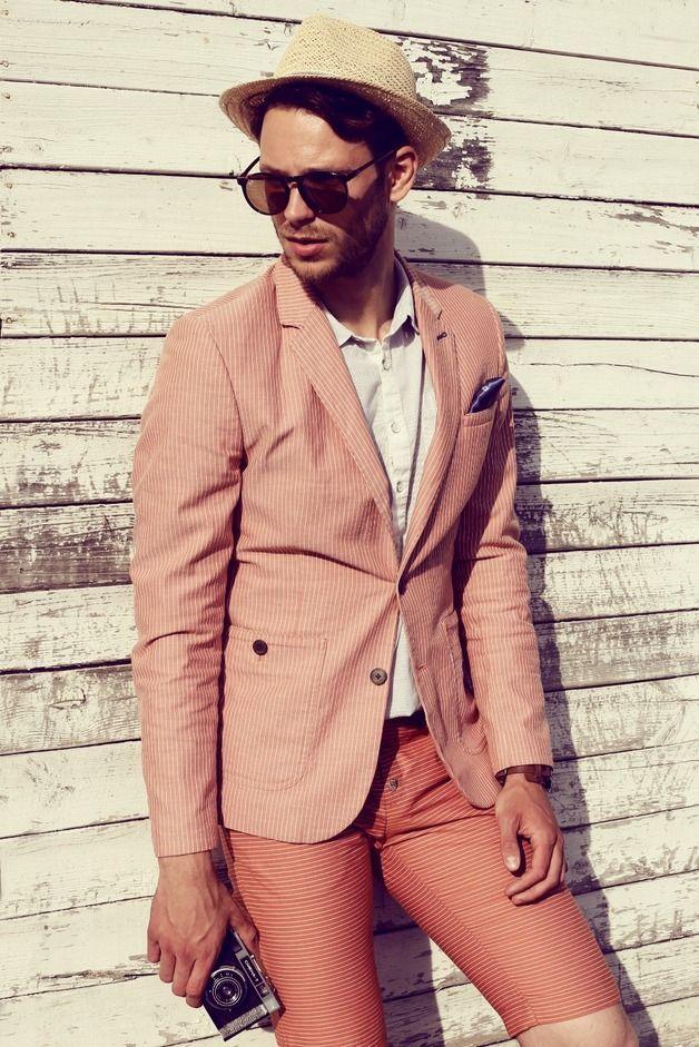 Mens Shorts – SALE! Slim cut coral orange cotton shorts for men – a unique product by MaplePropeller on DaWanda