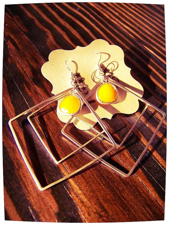 Double the Fun Earrings  matte silver double square earrings with a sunny orange charm by LCDecorStudio, $23.00