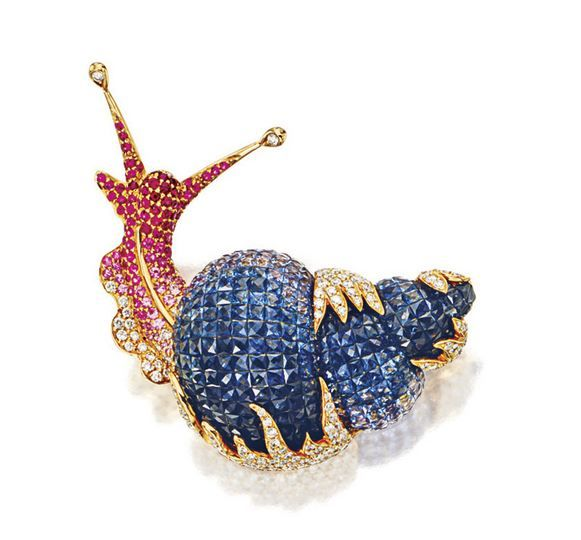COLOURED SAPPHIRES AND DIAMOND 'SNAIL' BROOCH...pinned by ♥ wootandhammy.com, thoughtful jewelry.