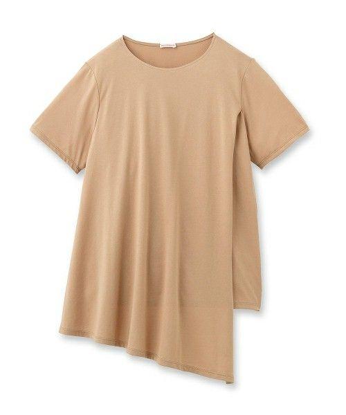 DRESSTERIOR(LADIES)(ドレステリアレディス)のフロントラップ天竺プルオーバー(Tシャツ/カットソー)|ベージュ