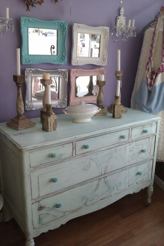Distressed Vintage Bedroom Inspiration: Antique Dresser Shabby Chic Beach Cottage By