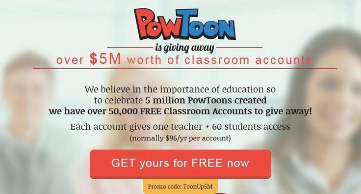 Giving Away 50,000 Classroom Accounts of Online Presentation-Creator Powtoon