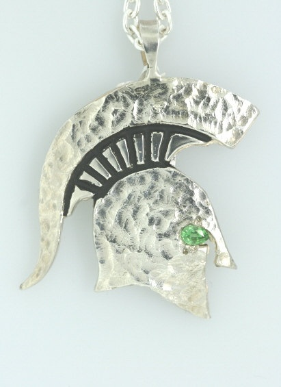 Hammered Sparty pendant with green eye